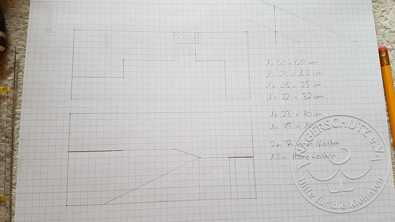 unterer Teil: Ansicht von oben und Ansicht von vorne skizziert