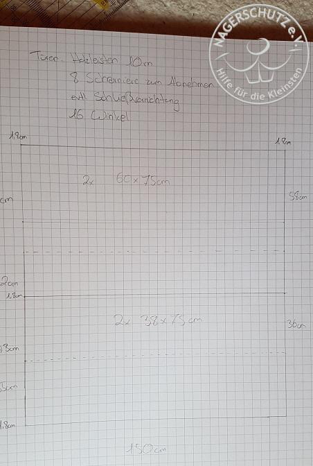 Der Schrank als Skizze mit Maßen und Etagendicke zur genauen Berechnung samt Türmaße